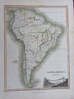 South America Brazil Colombia rope bridge 1819 antique Wyld Hewitt Thomson map