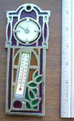 Antique Brass Framed Stained Glass Grandfather Clock Thermometer