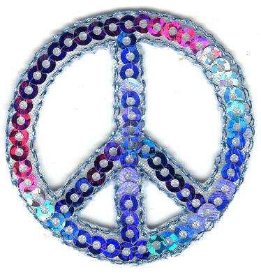 Peace Sign Multi-color Sequins Patriotic Iron On Patch