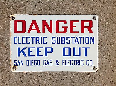 """San Diego Gas & Electric Co - """"danger - Keep Out"""" - Porcelain Sign - Never Used"""