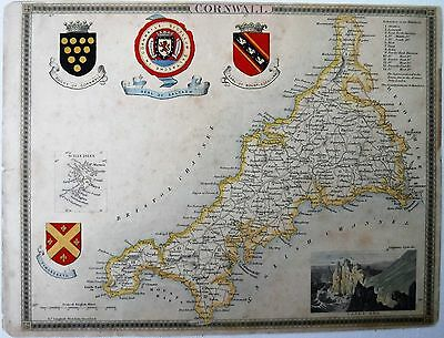 Circa 1850 Antique Thomas Moule Map Of Cornwall & Scilly Isles
