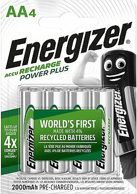 4 x Energizer AA 2000mAh NiMH Rechargeable Power Plus Batteries HR6 MN1500