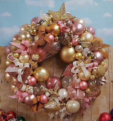 "22"" Vintage Pink & Gold Glass Christmas Ornament Wreath Spun Glass Angel Holiday"