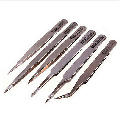 Hot Steel Stainless Anti-static Tweezer Set Electronic Craft Tool WH
