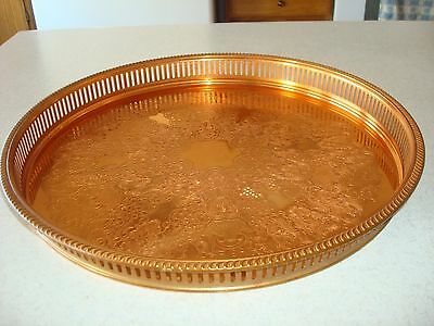 """VINTAGE COPPERCRAFT GUILD 15"""" COPPER SERVING TRAY TAUNTON MASS with SLOTTED EDGE"""