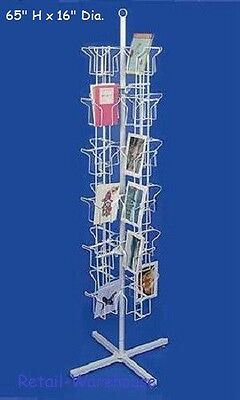 "Greeting Card Rack Rotating Spins 48 Pocket White Retail Display 5"" x 7 Cards"