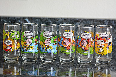 Vtg Mcdonalds Peanuts Camp Snoopy Drinking Glasses Set Of 6 Collection Tumblers