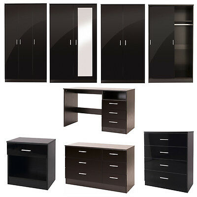Black Gloss Bedroom Furniture Chest of Drawers Wardrobe Bedside Dressing Table