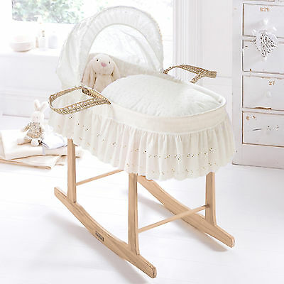 New Clair De Lune Cream Broderie Anglaise Baby Moses Basket & Pine Rocking Stand