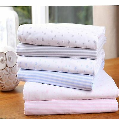 New Clair De Lune Pink Stripe Star 2 Pack Moses Cotton Jersey Fitted Sheets