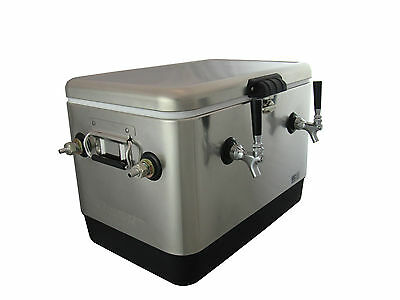 Stainless Steel Double Faucet Beer Jockey Box, 2x70' High Efficiency Coils