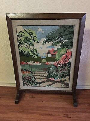 ANTIQUE VINTAGE ENGLISH OAK FIREPLACE FIRE SCREEN PANEL  w/ NEEDLEWORK FRONT
