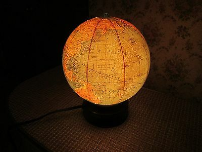 "Antique 1920s/30s 7"" Lighted  Replogle Glass World Globe; Nightlight"