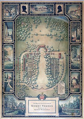 1932 pictorial map Mount Vernon The Estate of George Washington POSTER 8643001
