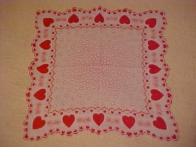 Vintage Valentine Hanky w/ Red & White Hearts & Flowers, Scalloped Edge