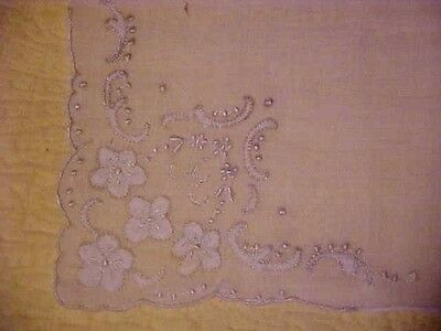 Vintage White Hanky w/ Small Embroidered White Flowers in Each Corner