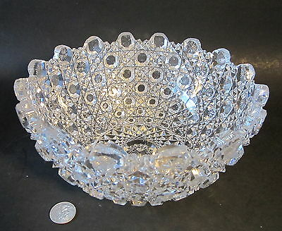 "AMERICAN BRILLIANT Antique Deep Heavy Well Cut Glass HARVARD Pattern 9"" Bowl ABP"