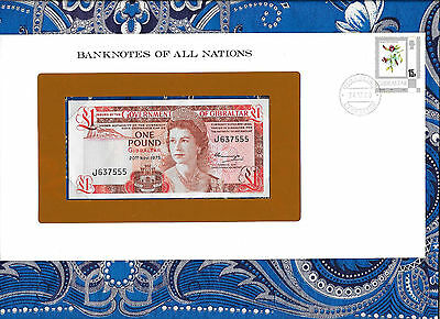 Banknotes of All Nations Gibraltar 1 pound 1975 UNC P20a Prefix J