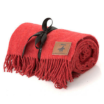 Creswick Wool Jackaroo Picnic Lounge Couch Bed Throw Blanket Fringe Red Rrp $99