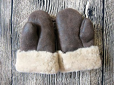 SHIPS FREE NEW Kids Genuine Leather Sheepskin Shearling Mittens 3T 4T Winter Fur