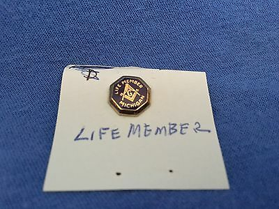 Michigan Masonic Lodge LIFE MEMBER Gold Pin Freemasonry Knights Templar Compass