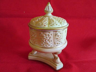 Royal China Works later Royal Worcester Pierced Lidded Container on animal feet