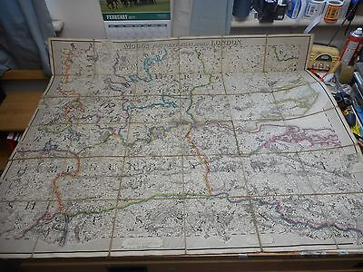 100% Original Country 45 Miles Around London Folding Map On Linen By Mogg C1821