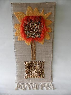 Vintage Retro Sun Flower Shaggy Woven Wall Hanging