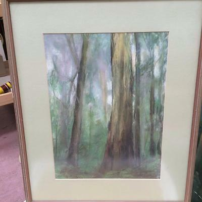 Vintage Framed Art Pastel Crayon Drawing Forest Trees Signed Hilda Gay