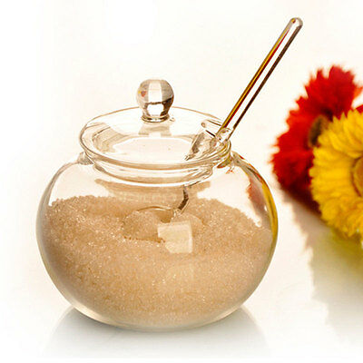 Household 250ml Glass Jar Candy Spice Cylinder Cooking Spicing Sugar Bowl