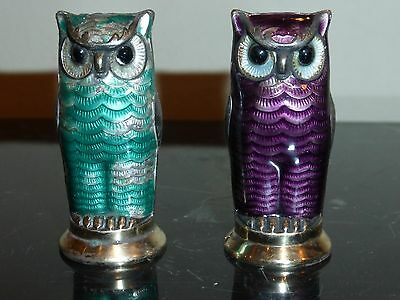 Vintage David Andersen Owl Sterling Enamel Salt & Pepper Set