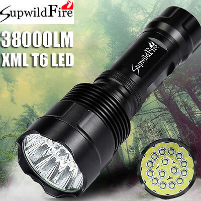 SupwildFire 38000LM XM-L T6 LED Flashlight Torch Light Super Bright 18650/26650
