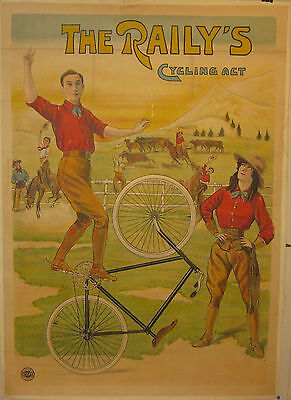 Antique c1910 'THE RAILY'S CYCLING ACT' Bicycle BIKE Marci POSTER - English