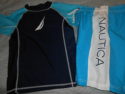 Nwt Nautica 2-Piece Navy Blue Swim Set Shorts & Uv Shirt Boy's Sz. 7X !