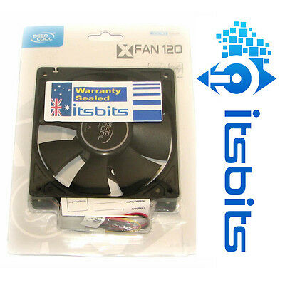 DEEPCOOL 120MM CASE FAN XFAN120 28dB MOLEX & 3 PIN CONNECTOR + FITTING SCREWS