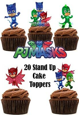 PJ Masks Edible Wafer Card Stand up Cupcake / Cake toppers x 20 (Thick quality)