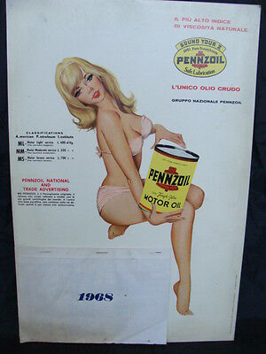 Calendario Pennzoil Motor Oil 1968 Pennsylvania Promo Old Pin Up Alfa Romeo Fiat