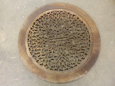 Large Antique Cast Iron Round Cold Air Return Grate Grill Vent Surround 325-17R