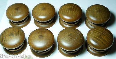 Quality Reproduction Set 8X Polished Oak Wooden Chest/drawer Handle Knobs 45 Mm