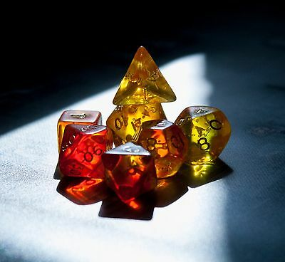 Blitz Dice Set - 7 Red/yellow poly dice - Dungeons and Dragons - D20 RPG