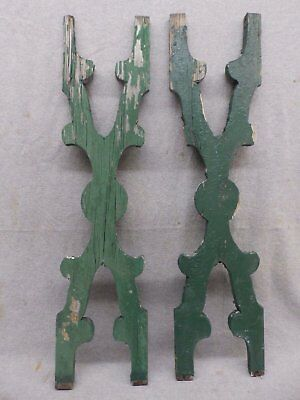 Pair Antique Architectural Gingerbread Flat Balusters Vintage Old 329-17R