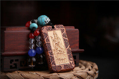 Two Kinds Wood Inlay Carving Chinese Kwan Guan Yin Sculpture Pendant Key Chain