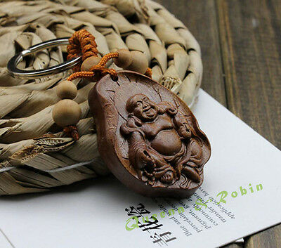Wood Carving Chinese Happy Maitreya Buddha Leaf Sculpture Pendant Key Chain