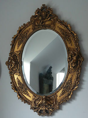 Antique Gold Ornate Oval Cherub Cupid French Style Bevelled Wall Mirror