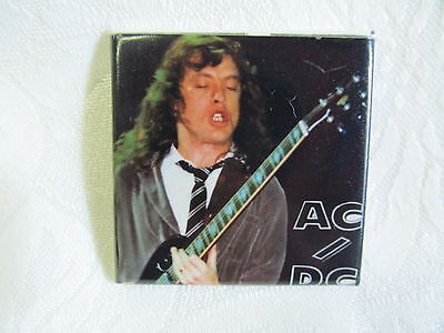 Vintage 80's AC/DC Rock Music Heavy Metal Pin Button ANGUS YOUNG A