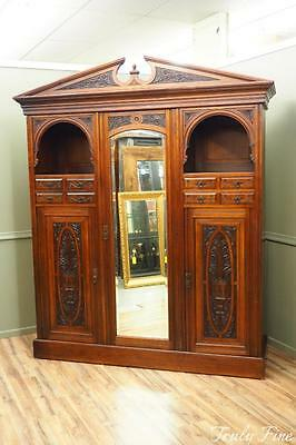 Victorian Antique Armoire Cheval Mirror Door Wardrobe Storage Cabinet Chest