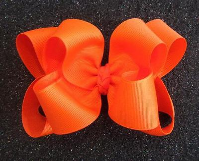 """Girls hairbows Big hair bows double layer boutique bow Orange Headband Clip 4 5"""""""