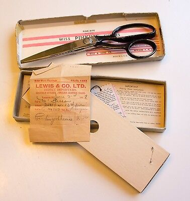 1947 Wiss Pinking Shears in Original Box with Recepit
