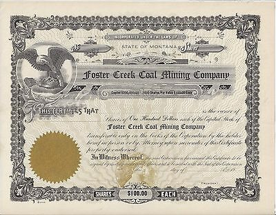 Foster Coal Mining Company (Montana)......unissued Stock Certificate