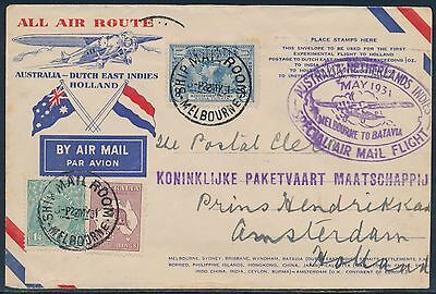 Aamc #205 Australia Netherlands Indies Special Flight Cover May 1931 Bt7274